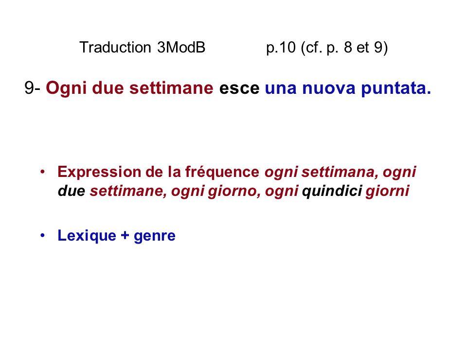 Traduction 3ModB p.10 (cf. p. 8 et 9) Expression de la fréquence ogni settimana, ogni due settimane, ogni giorno, ogni quindici giorni Lexique + genre