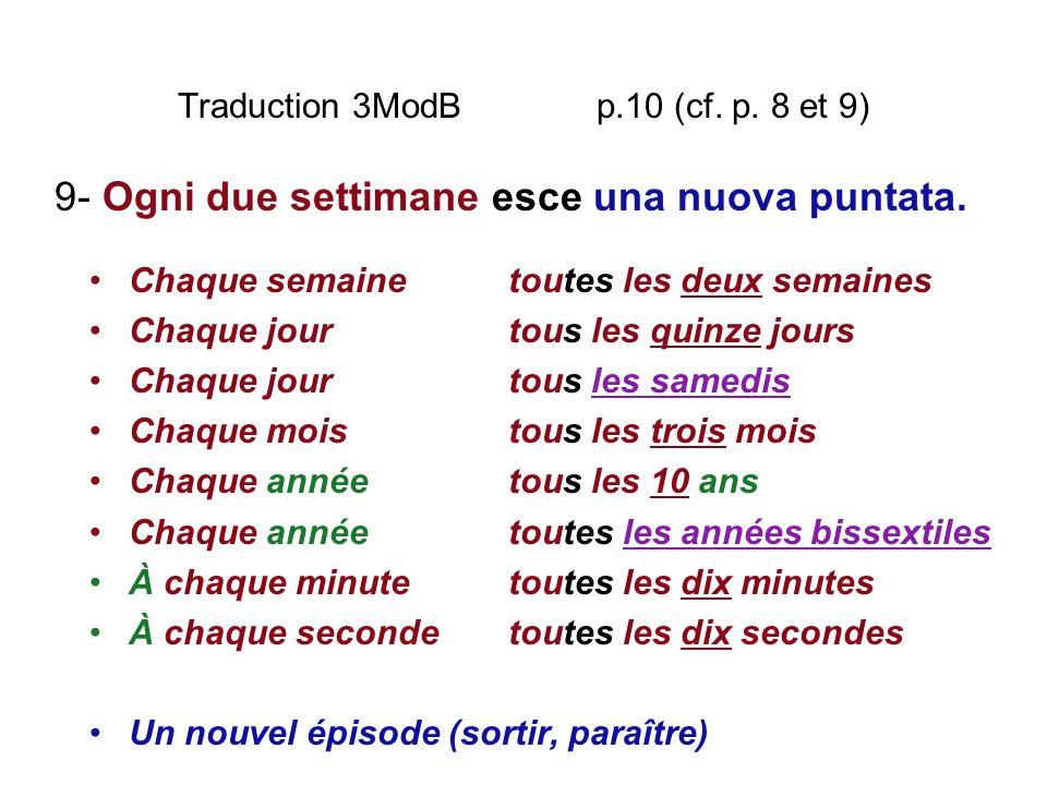 Traduction 3ModB p.10 (cf. p. 8 et 9) Chaque semainetoutes les deux semaines Chaque jourtous les quinze jours Chaque jourtous les samedis Chaque moist