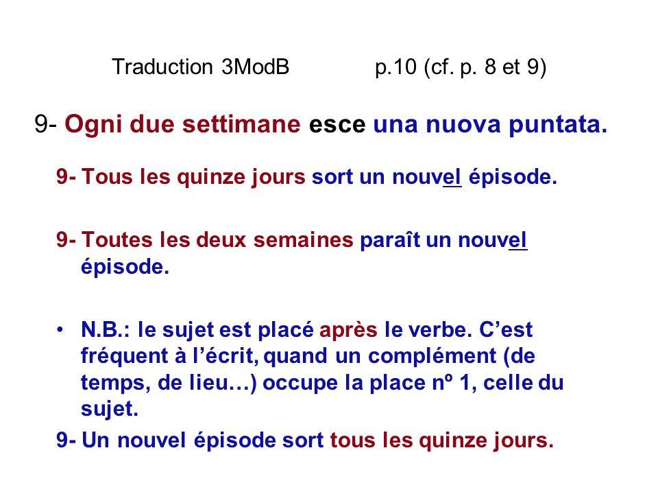Traduction 3ModB p.10 (cf. p. 8 et 9) 9- Tous les quinze jours sort un nouvel épisode. 9- Toutes les deux semaines paraît un nouvel épisode. N.B.: le