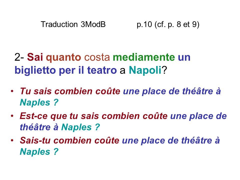 Traduction 3ModB p.10 (cf. p. 8 et 9) Tu sais combien coûte une place de théâtre à Naples ? Est-ce que tu sais combien coûte une place de théâtre à Na