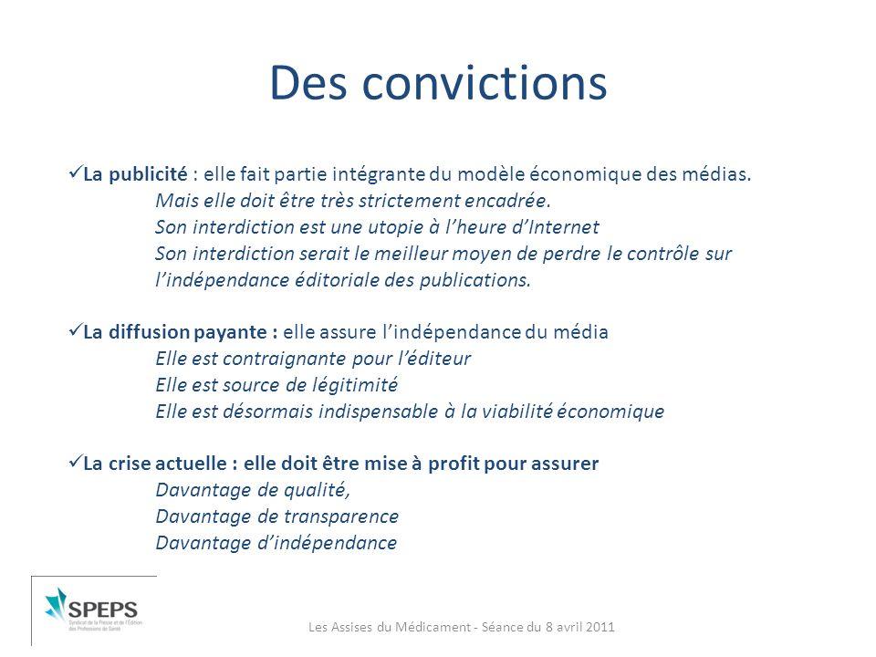 Des convictions Les Assises du Médicament - Séance du 8 avril 2011 La publicité : elle fait partie intégrante du modèle économique des médias. Mais el