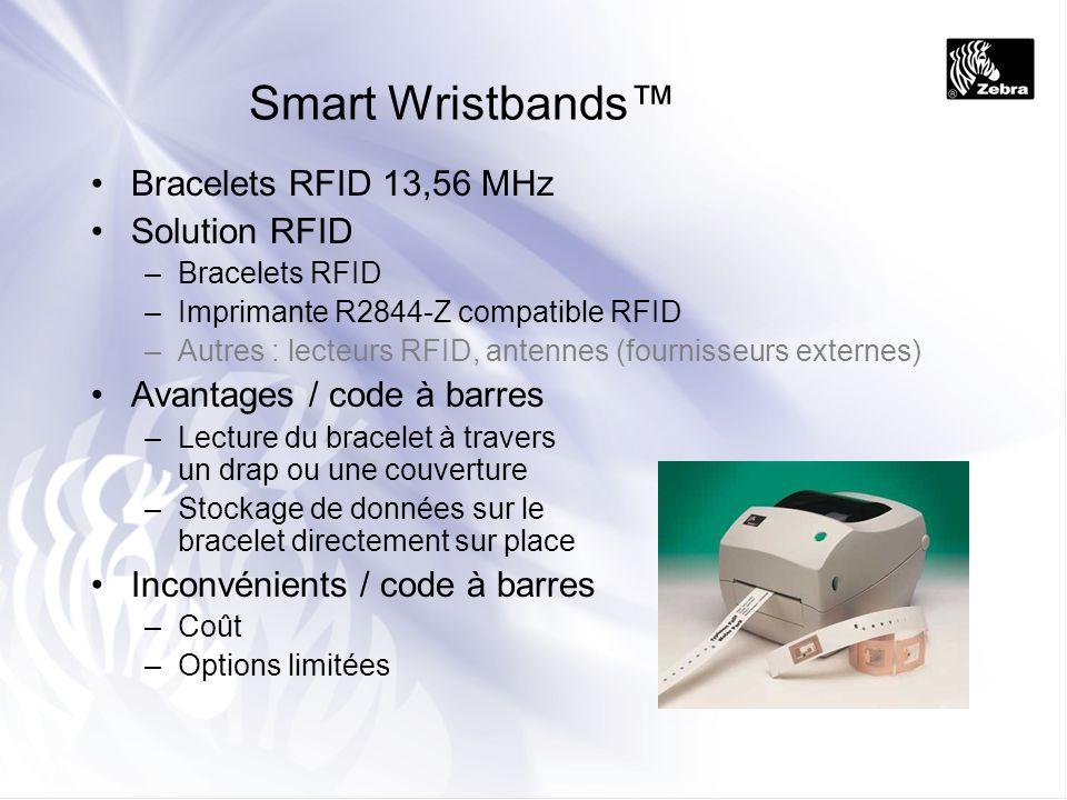 Smart Wristbands Bracelets RFID 13,56 MHz Solution RFID –Bracelets RFID –Imprimante R2844-Z compatible RFID –Autres : lecteurs RFID, antennes (fournis