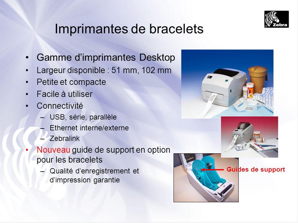 Imprimantes de bracelets Gamme dimprimantes Desktop Largeur disponible : 51 mm, 102 mm Petite et compacte Facile à utiliser Connectivité –USB, série,