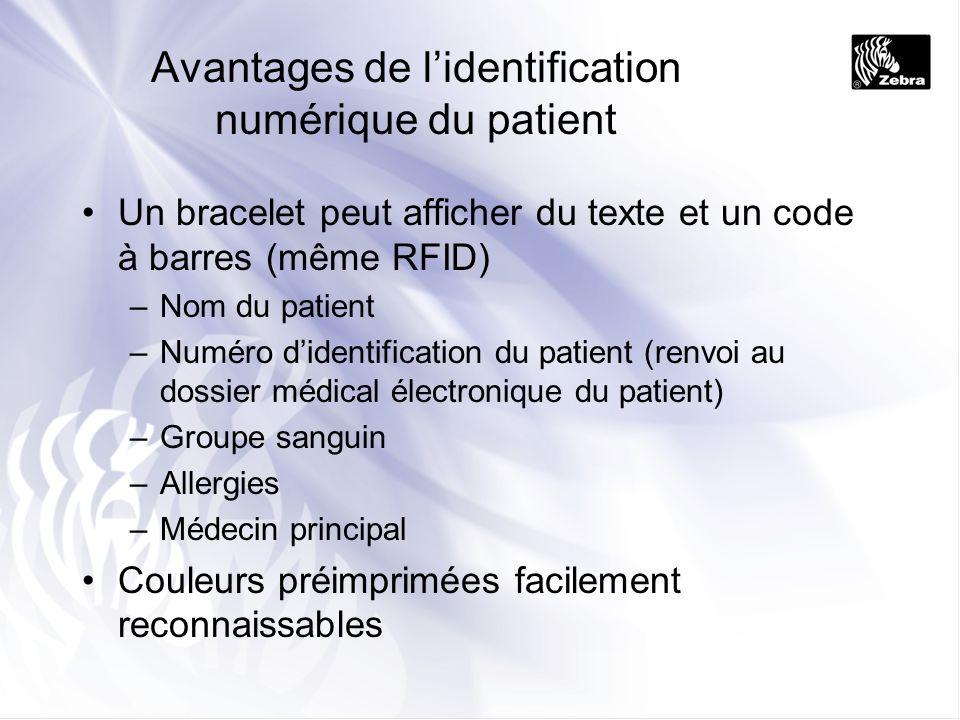 Avantages de lidentification numérique du patient Un bracelet peut afficher du texte et un code à barres (même RFID) –Nom du patient –Numéro didentifi