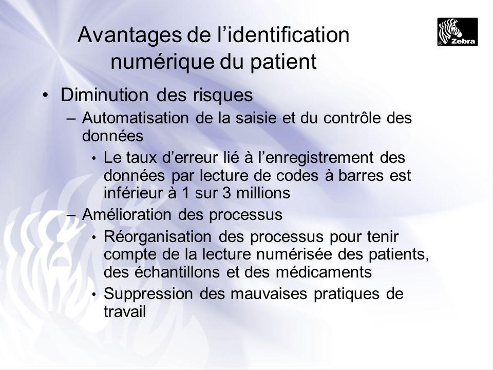 Avantages de lidentification numérique du patient Diminution des risques –Automatisation de la saisie et du contrôle des données Le taux derreur lié à
