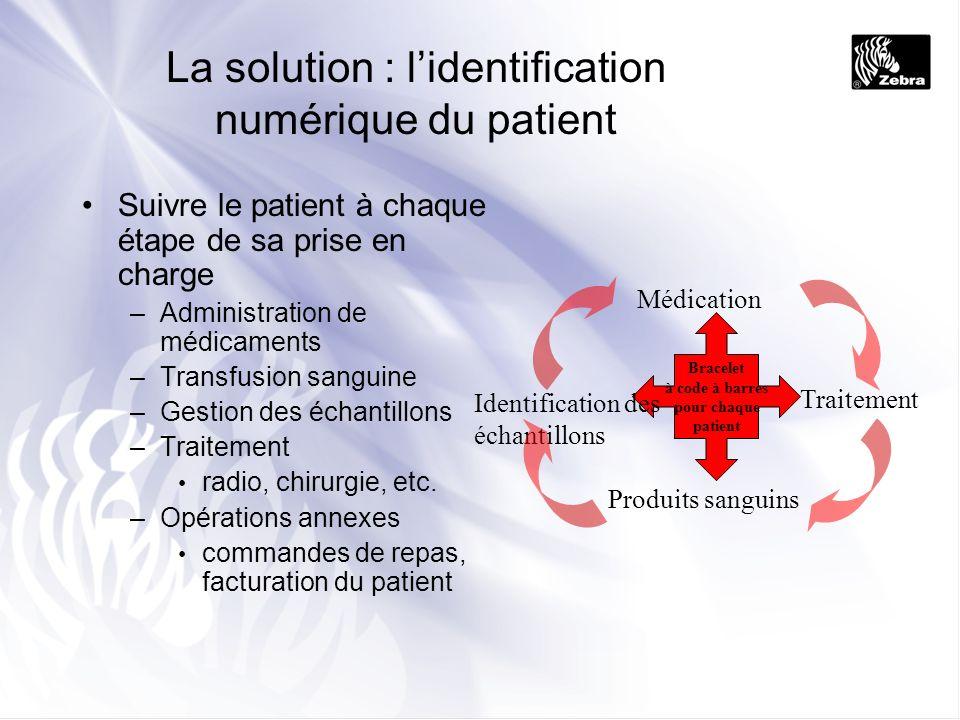 La solution : lidentification numérique du patient Suivre le patient à chaque étape de sa prise en charge –Administration de médicaments –Transfusion