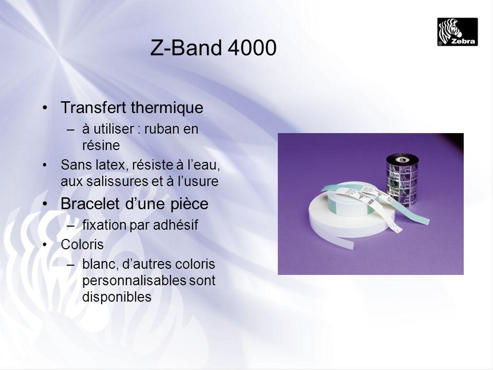Smart Wristbands Bracelets RFID 13,56 MHz Solution RFID –Bracelets RFID –Imprimante R2844-Z compatible RFID –Autres : lecteurs RFID, antennes (fournisseurs externes) Avantages / code à barres –Lecture du bracelet à travers un drap ou une couverture –Stockage de données sur le bracelet directement sur place Inconvénients / code à barres –Coût –Options limitées