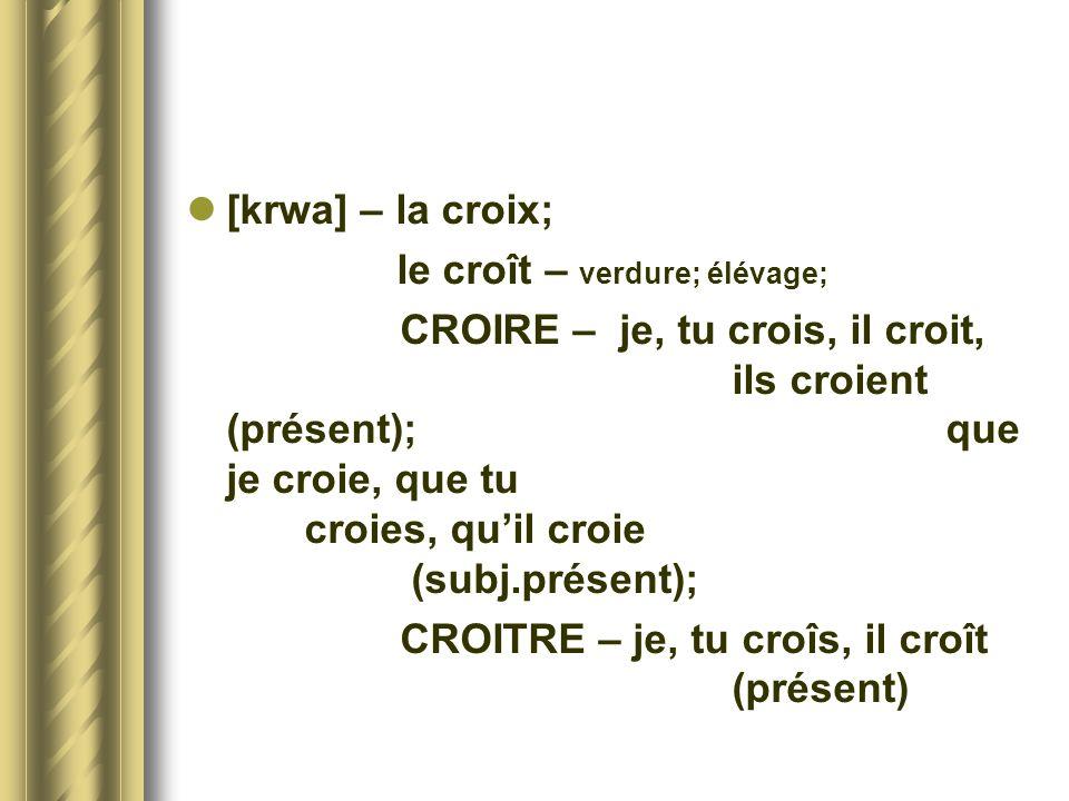[krwa] – la croix; le croît – verdure; élévage; CROIRE – je, tu crois, il croit, ils croient (présent); que je croie, que tu croies, quil croie (subj.