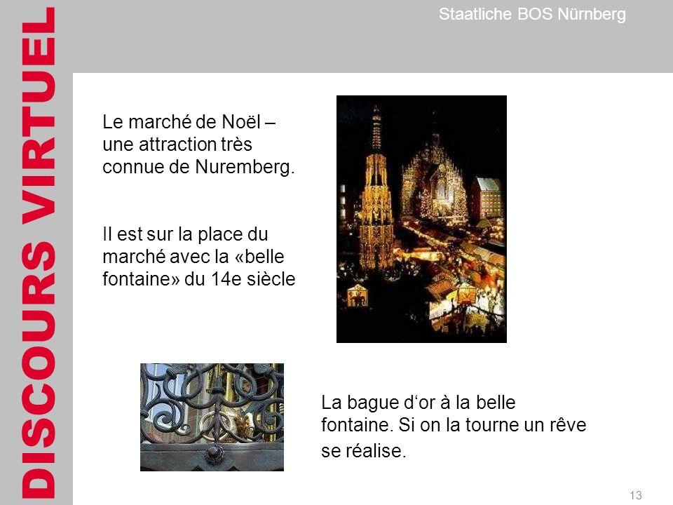 DISCOURS VIRTUEL Staatliche BOS Nürnberg 13 Le marché de Noël – une attraction très connue de Nuremberg.