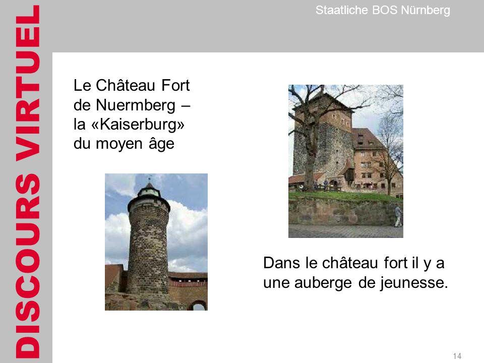 DISCOURS VIRTUEL Staatliche BOS Nürnberg 14 Le Château Fort de Nuermberg – la «Kaiserburg» du moyen âge Dans le château fort il y a une auberge de jeunesse.