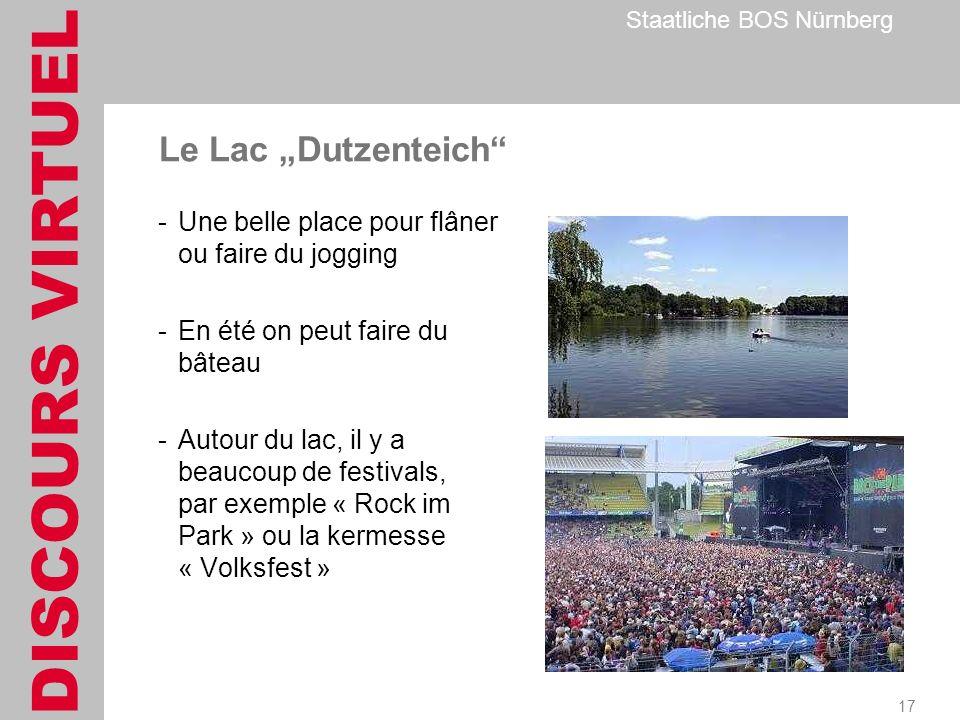 DISCOURS VIRTUEL Staatliche BOS Nürnberg 17 Le Lac Dutzenteich -Une belle place pour flâner ou faire du jogging -En été on peut faire du bâteau -Autour du lac, il y a beaucoup de festivals, par exemple « Rock im Park » ou la kermesse « Volksfest »