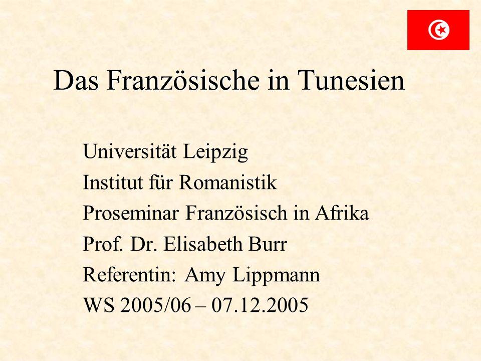 Das Französische in Tunesien Universität Leipzig Institut für Romanistik Proseminar Französisch in Afrika Prof. Dr. Elisabeth Burr Referentin: Amy Lip