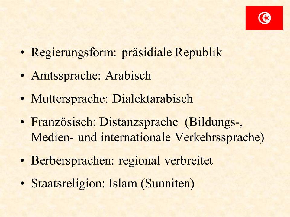 Regierungsform: präsidiale Republik Amtssprache: Arabisch Muttersprache: Dialektarabisch Französisch: Distanzsprache (Bildungs-, Medien- und internati