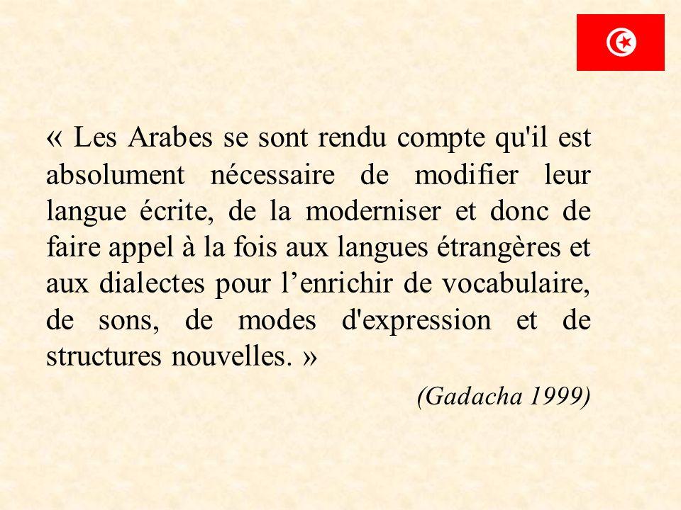 « Les Arabes se sont rendu compte qu'il est absolument nécessaire de modifier leur langue écrite, de la moderniser et donc de faire appel à la fois au