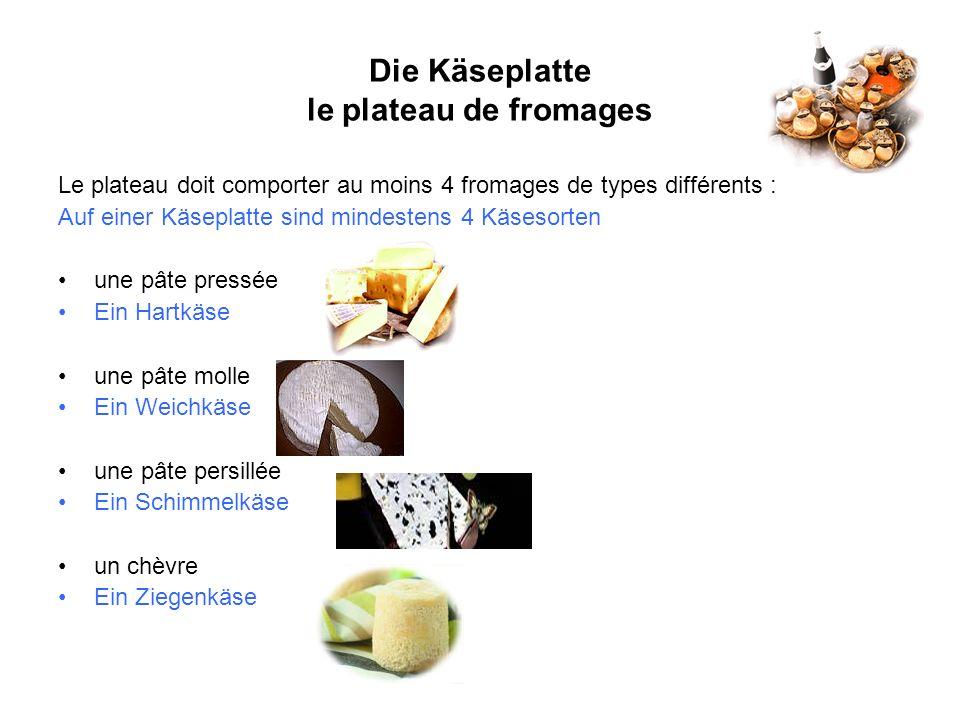 Die Käseplatte le plateau de fromages Le plateau doit comporter au moins 4 fromages de types différents : Auf einer Käseplatte sind mindestens 4 Käses