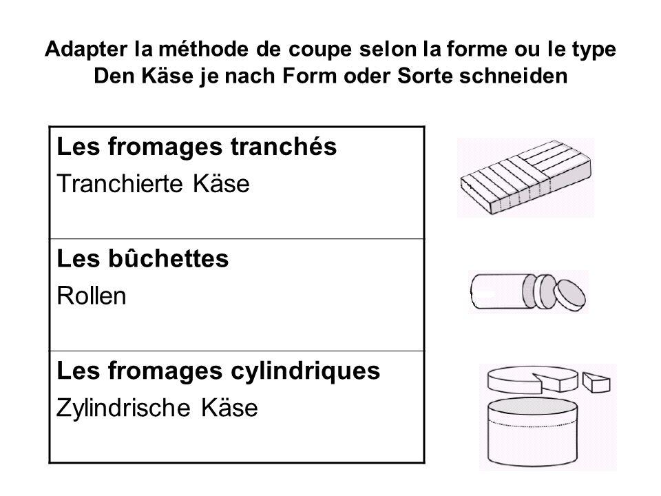Adapter la méthode de coupe selon la forme ou le type Den Käse je nach Form oder Sorte schneiden Les fromages tranchés Tranchierte Käse Les bûchettes