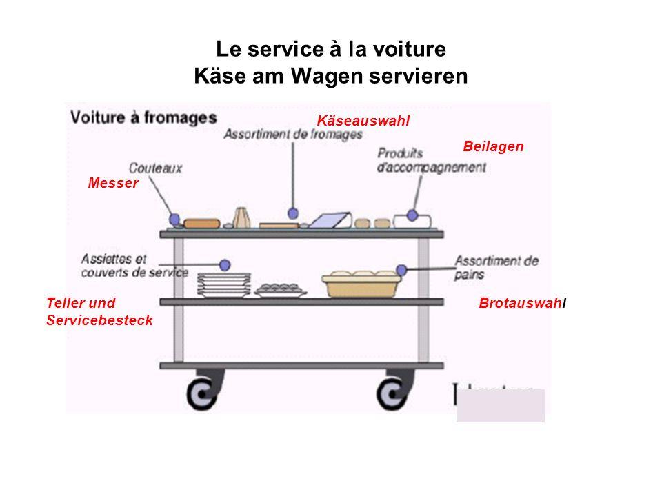 Le service à la voiture Käse am Wagen servieren Käseauswahl Beilagen BrotauswahlTeller und Servicebesteck Messer