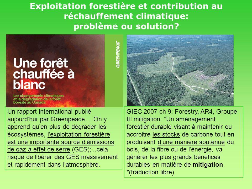 Impact de laménagement forestier sur le C en forêt: 1-point de départ: Tous types de forêts sur friche Forêt normalisée vs forêt naturelle Foresterie extensive normalisé vs foresterie intensive 2-aménagement intensif: plus forte productivité, moins de superficie autant de C sur pied que laménagement extensif Possibilité de pertes Gains concrets