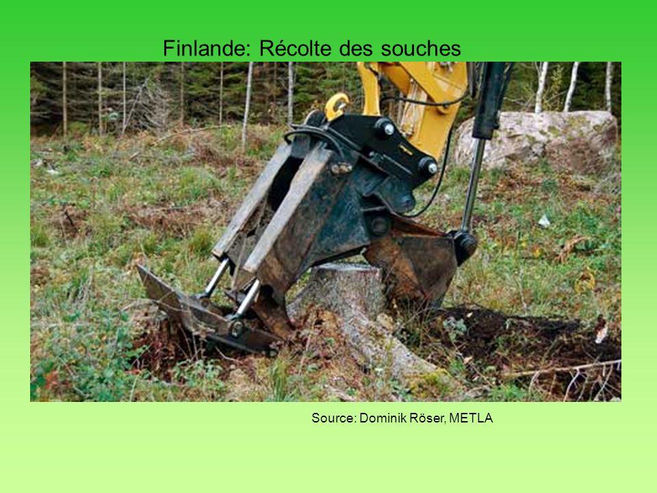 Finlande: Récolte des souches Source: Dominik Röser, METLA