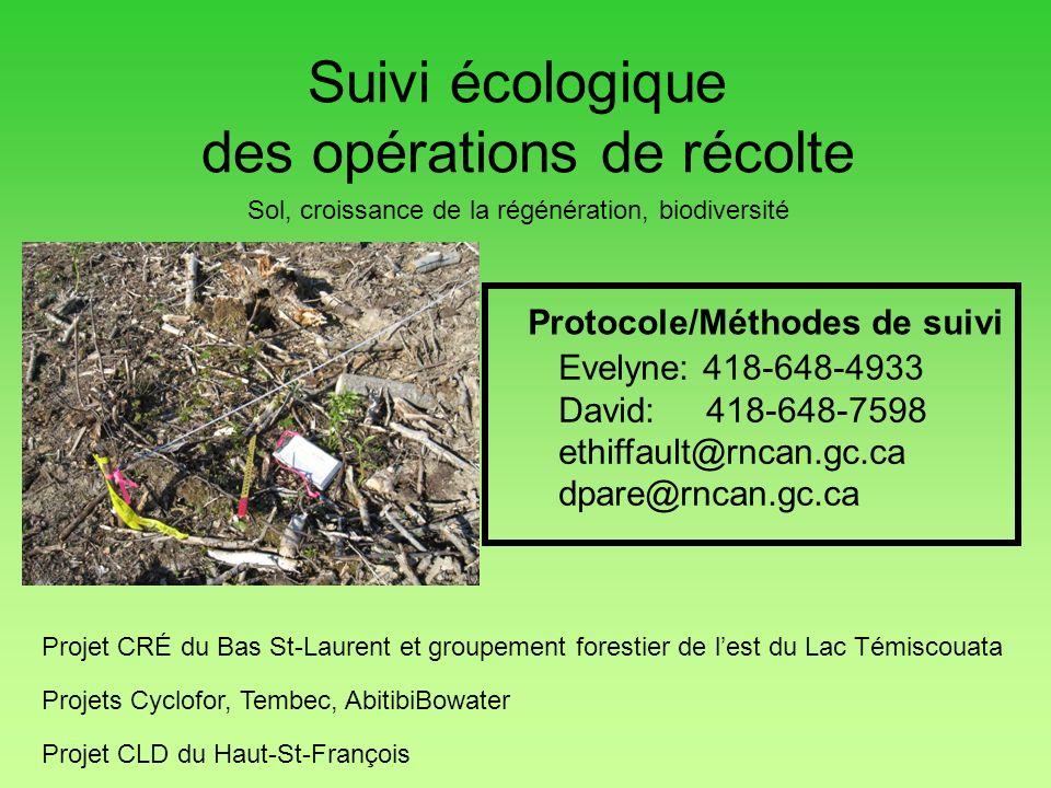 Suivi écologique des opérations de récolte Evelyne: 418-648-4933 David: 418-648-7598 ethiffault@rncan.gc.ca dpare@rncan.gc.ca Protocole/Méthodes de su