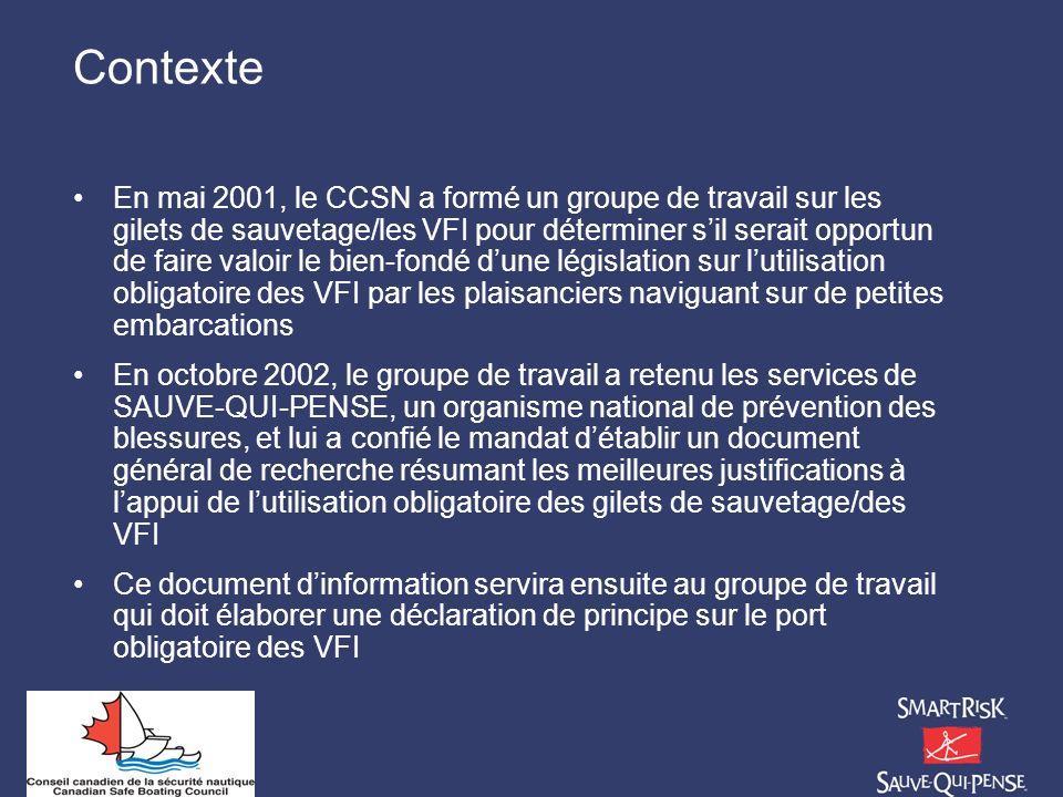 Contexte En mai 2001, le CCSN a formé un groupe de travail sur les gilets de sauvetage/les VFI pour déterminer sil serait opportun de faire valoir le