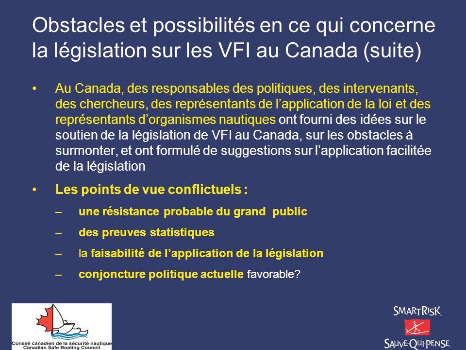 Obstacles et possibilités en ce qui concerne la législation sur les VFI au Canada (suite) Au Canada, des responsables des politiques, des intervenants
