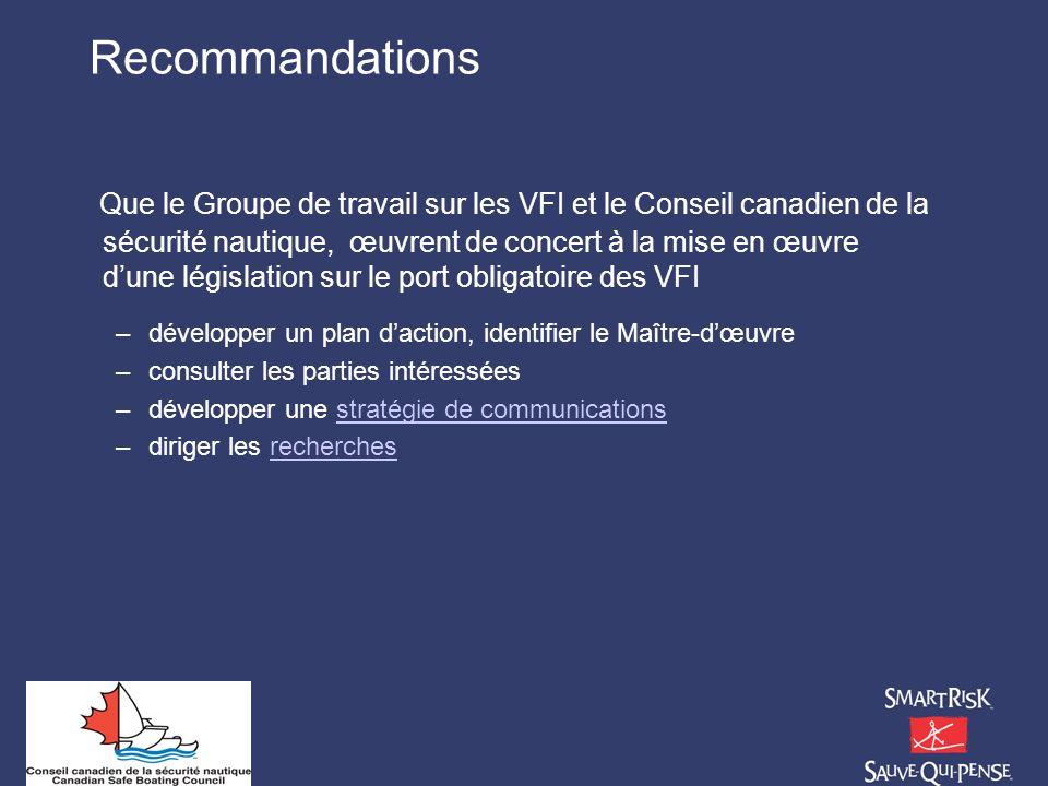 Recommandations Que le Groupe de travail sur les VFI et le Conseil canadien de la sécurité nautique, œuvrent de concert à la mise en œuvre dune législ