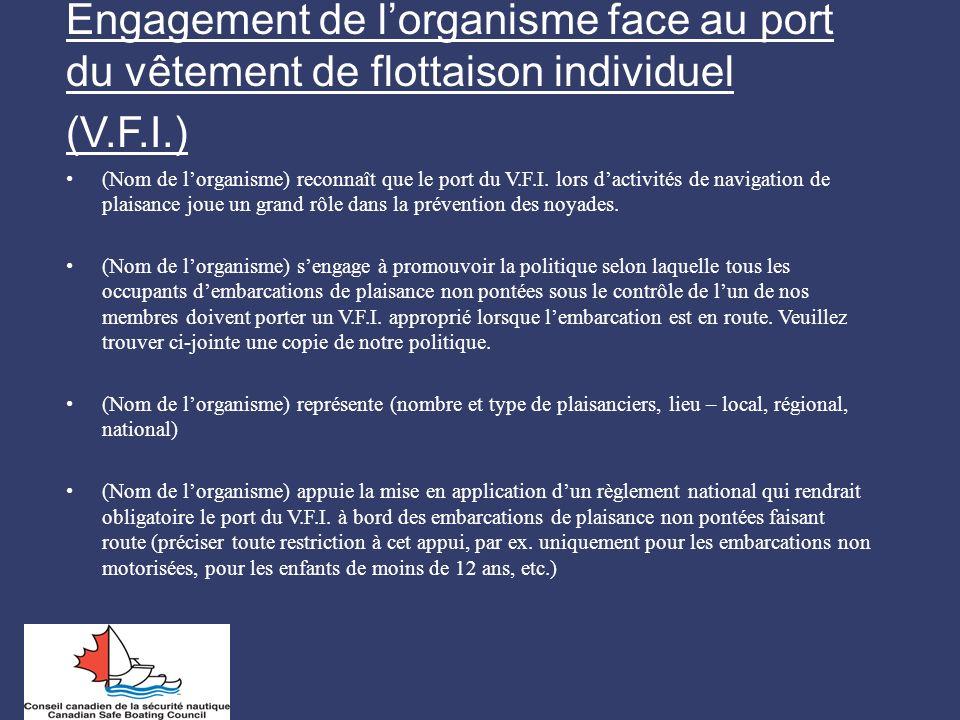 Engagement de lorganisme face au port du vêtement de flottaison individuel (V.F.I.) (Nom de lorganisme) reconnaît que le port du V.F.I. lors dactivité