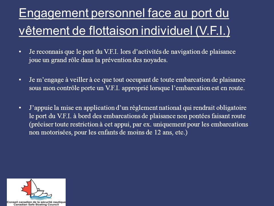 Engagement personnel face au port du vêtement de flottaison individuel (V.F.I.) Je reconnais que le port du V.F.I. lors dactivités de navigation de pl