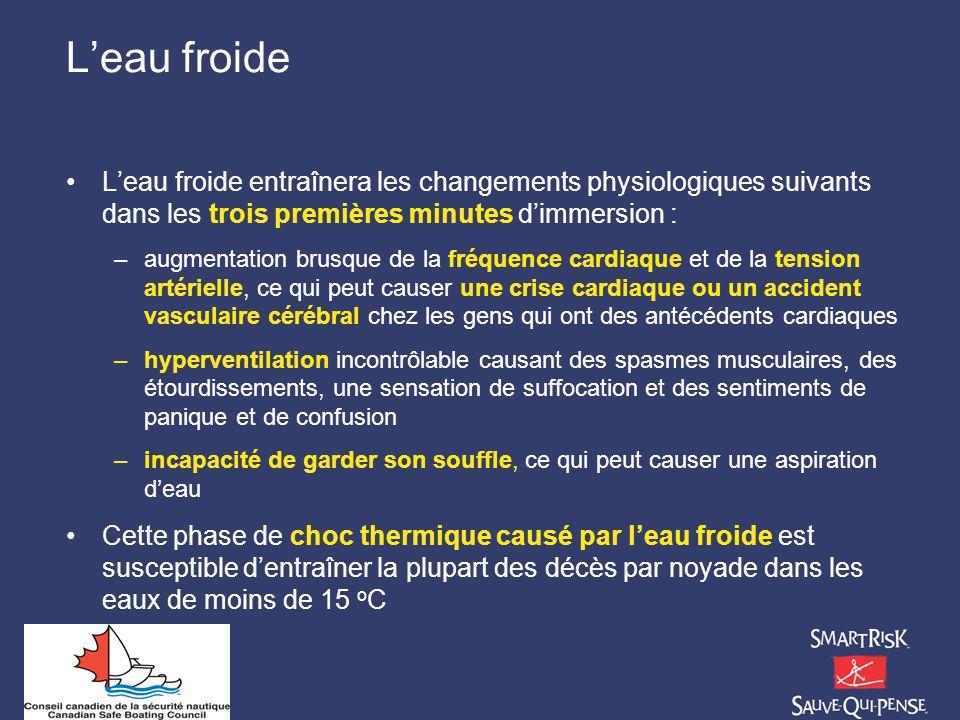 Leau froide Leau froide entraînera les changements physiologiques suivants dans les trois premières minutes dimmersion : –augmentation brusque de la f