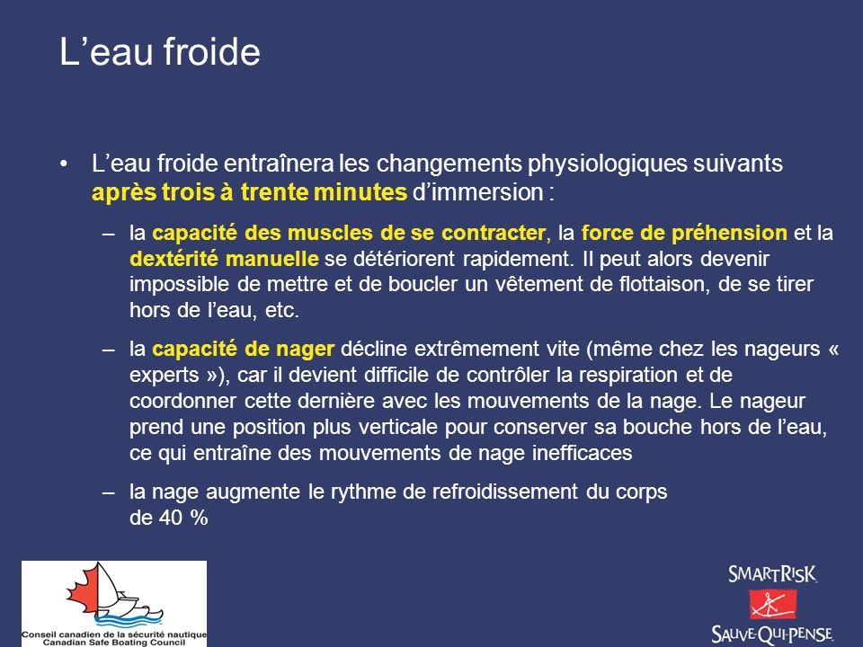 Leau froide Leau froide entraînera les changements physiologiques suivants après trois à trente minutes dimmersion : –la capacité des muscles de se co