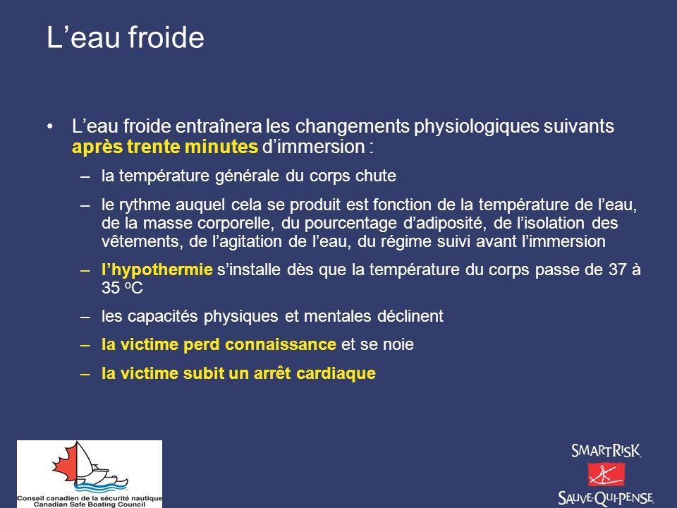 Leau froide Leau froide entraînera les changements physiologiques suivants après trente minutes dimmersion : –la température générale du corps chute –