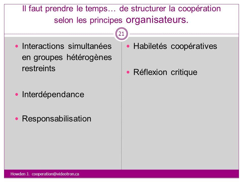 Il faut prendre le temps… de structurer la coopération selon les principes organisateurs. Howden J. cooperation@videotron.ca 21 Interactions simultané