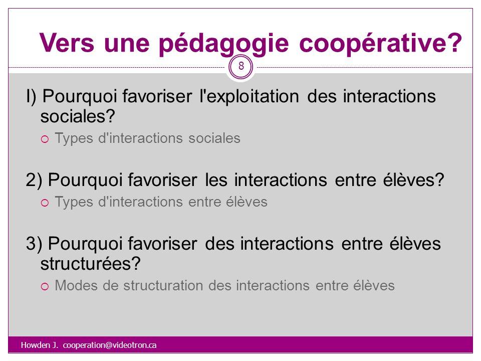 Vers une pédagogie coopérative? Howden J. cooperation@videotron.ca 8 I) Pourquoi favoriser l'exploitation des interactions sociales? Types d'interacti