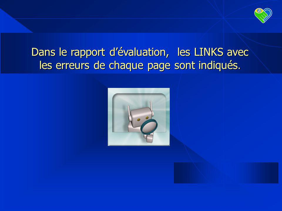Dans le rapport dévaluation, les LINKS avec les erreurs de chaque page sont indiqués.