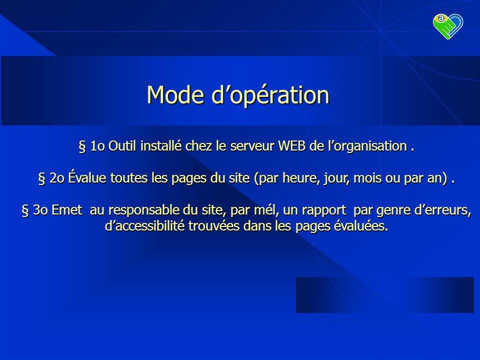 Mode dopération § 1o Outil installé chez le serveur WEB de lorganisation.