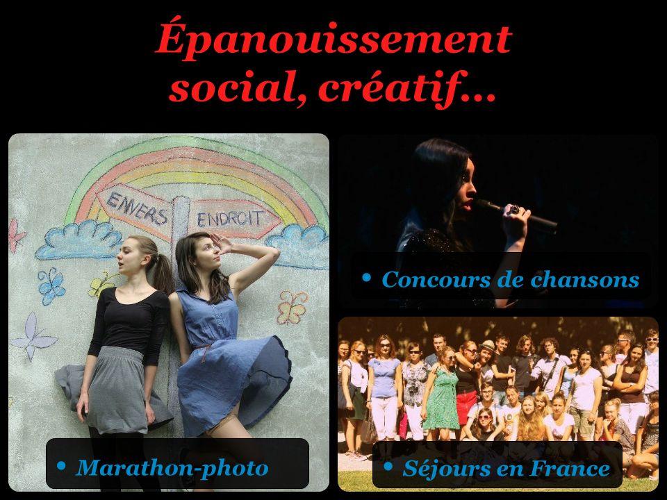 Épanouissement social, créatif… Marathon-photo Concours de chansons Séjours en France
