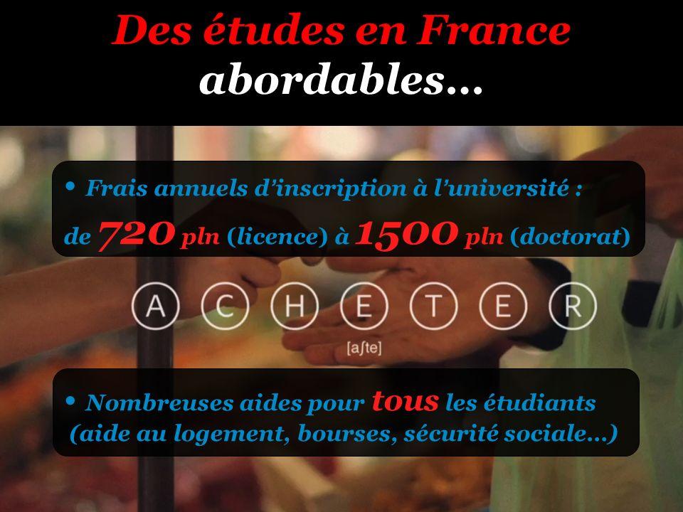 Des études en France abordables… Frais annuels dinscription à luniversité : de 720 pln (licence) à 1500 pln (doctorat) Nombreuses aides pour tous les