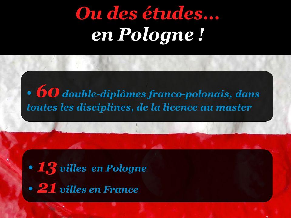 Ou des études… en Pologne ! 60 double-diplômes franco-polonais, dans toutes les disciplines, de la licence au master 13 villes en Pologne 21 villes en