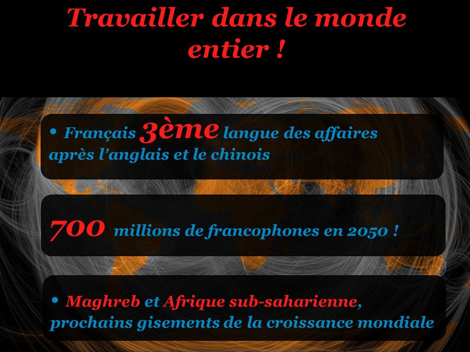 Travailler dans le monde entier ! 700 millions de francophones en 2050 ! Maghreb et Afrique sub-saharienne, prochains gisements de la croissance mondi
