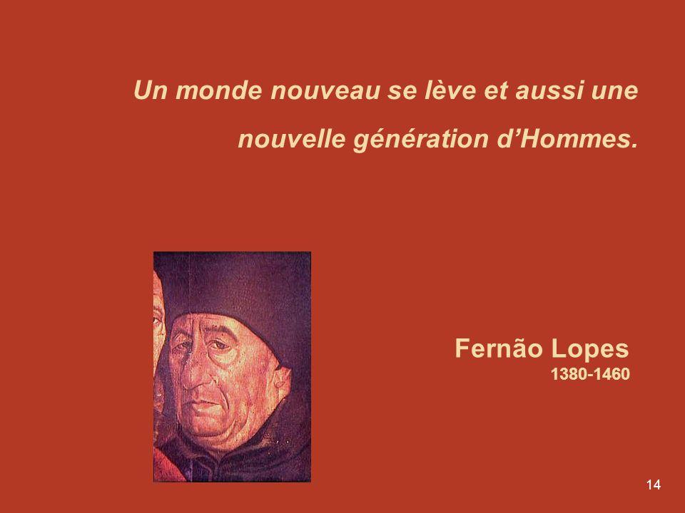 14 Un monde nouveau se lève et aussi une nouvelle génération dHommes. Fernão Lopes 1380-1460