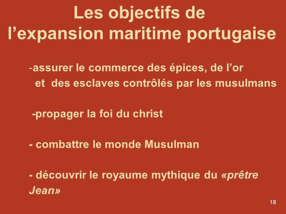 18 -assurer le commerce des épices, de lor et des esclaves contrôlés par les musulmans -propager la foi du christ - combattre le monde Musulman - déco