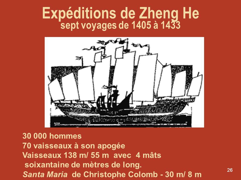 26 30 000 hommes 70 vaisseaux à son apogée Vaisseaux 138 m/ 55 m avec 4 mâts soixantaine de mètres de long. Santa Maria de Christophe Colomb - 30 m/ 8