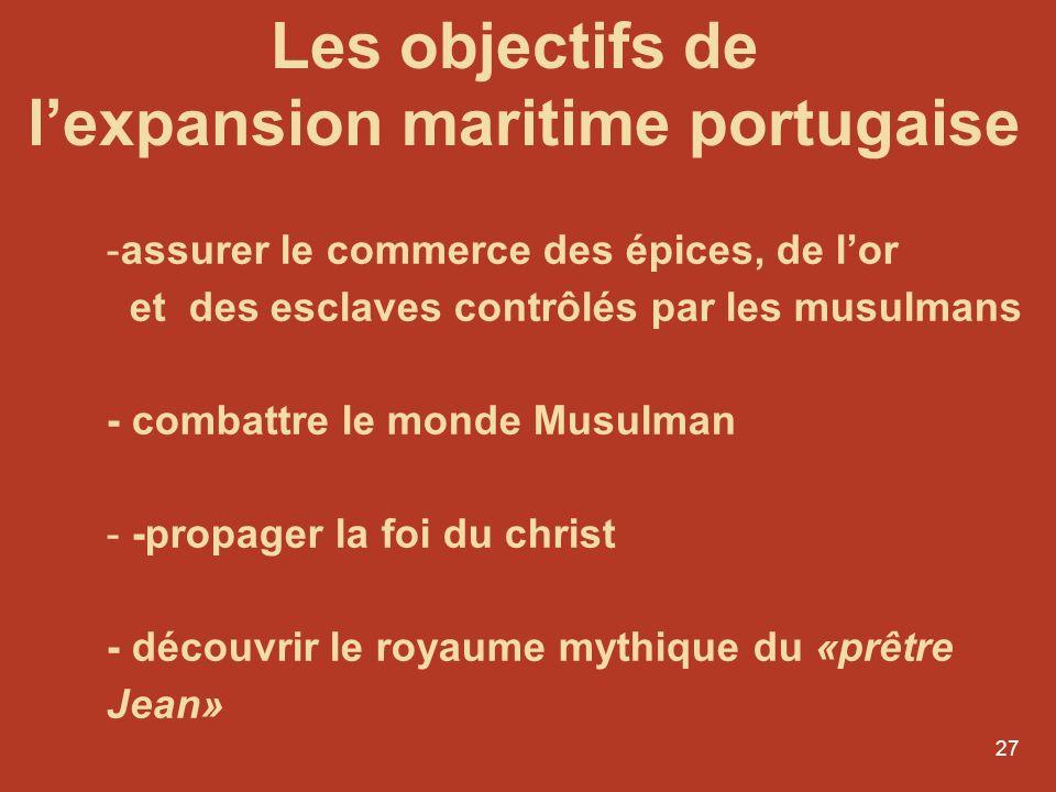 27 -assurer le commerce des épices, de lor et des esclaves contrôlés par les musulmans - combattre le monde Musulman - -propager la foi du christ - dé