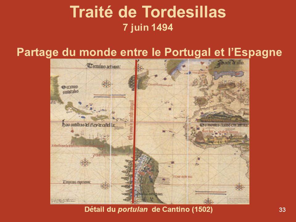 33 Traité de Tordesillas 7 juin 1494 Partage du monde entre le Portugal et lEspagne Détail du portulan de Cantino (1502)