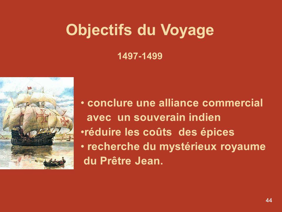 44 Conferências por Luís Aguila r Le Portugal, entre mers et monde Objectifs du Voyage 1497-1499 conclure une alliance commercial avec un souverain in