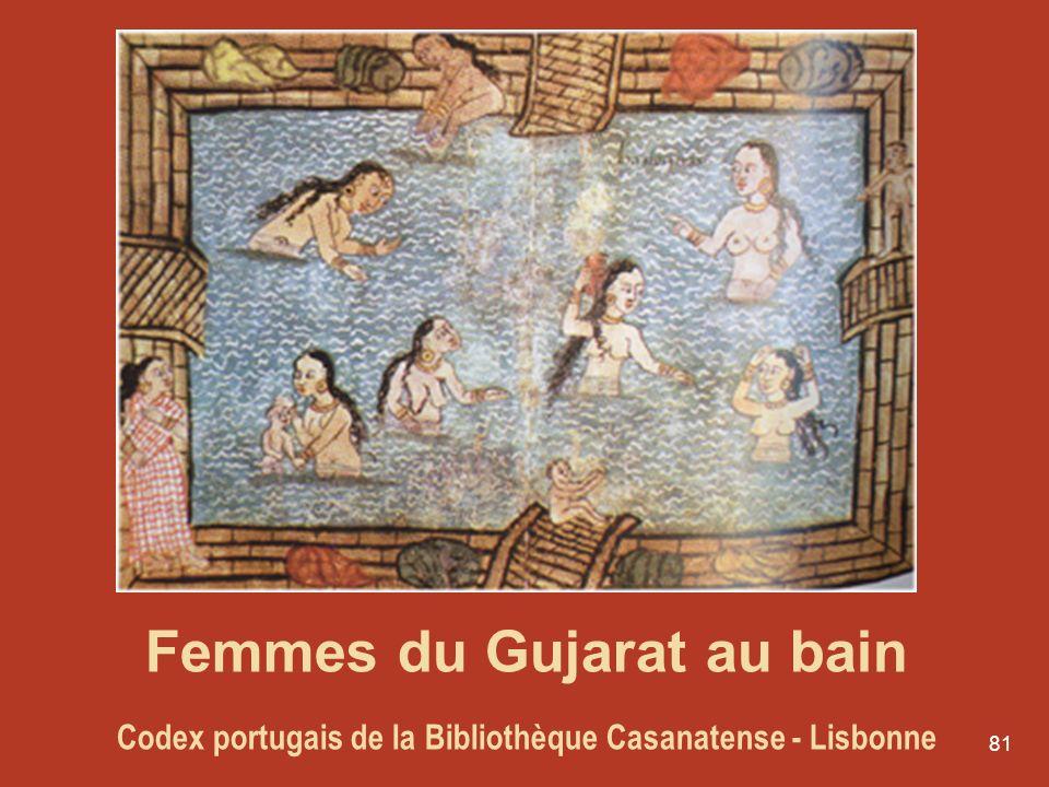 81 Femmes du Gujarat au bain Codex portugais de la Bibliothèque Casanatense - Lisbonne