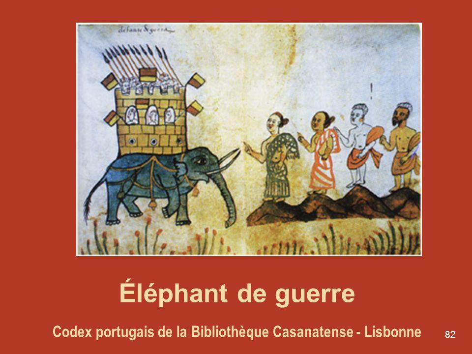 82 Éléphant de guerre Codex portugais de la Bibliothèque Casanatense - Lisbonne