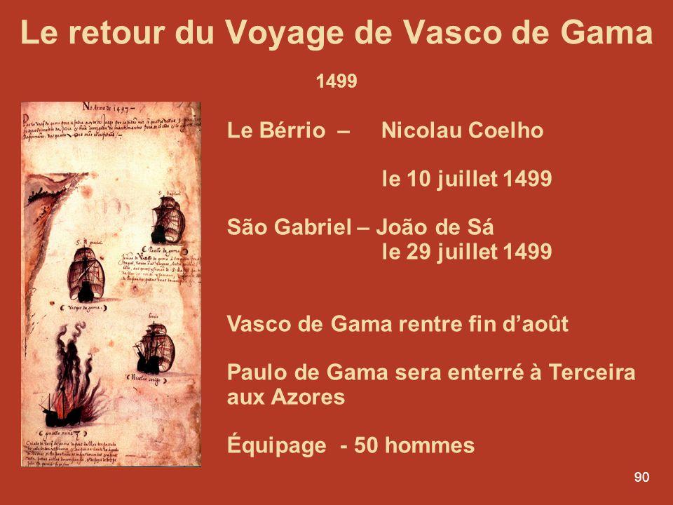 90 Le retour du Voyage de Vasco de Gama 1499 Le Bérrio – Nicolau Coelho le 10 juillet 1499 São Gabriel – João de Sá le 29 juillet 1499 Vasco de Gama r