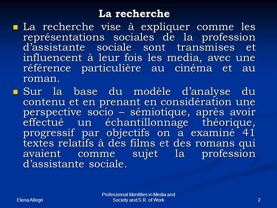 Elena Allegri 2 Professional Identities in Media and Society and S.R. of Work La recherche La recherche vise à expliquer comme les représentations soc